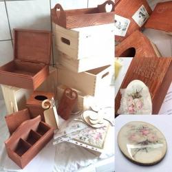 decoupage pojemnik drewniany brązowy