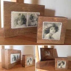 decoupage pudełka drewniane brązowe